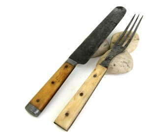 rustic antique knife and fork   ...   vintage wood and steel cutlery