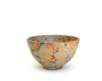 vintage artisan hand made stoneware bowl  ...   sponge ware ceramic bowl