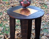 Side Table / End Table, Distressed Copper Inlay, Reclaimed Wood, Dark Brown Waxed Finish - Handmade