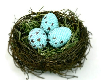 Robin Eggs In Twig Nest Beaded Woodland Cottage Shabby Chic Home Accent *READY TO SHIP