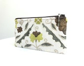 Woodsy Brown Zippered Bag / Beaded Pull - READY TO SHIP