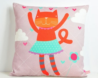 decorative throw pillow for kids room with orange miss cat - 12 inch / 30 cm