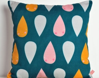 decorative throw pillow for kids room in dark blue with happy rain - 12 inch / 30 cm