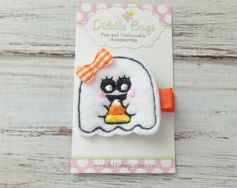 Ghost With Candy Corn Hair Clip, Ghost Hair Clip, Girls Ghost Hair Clip, Halloween Hair Clip, Ghost With Candy Hair Clip, Girl's Hair Clips