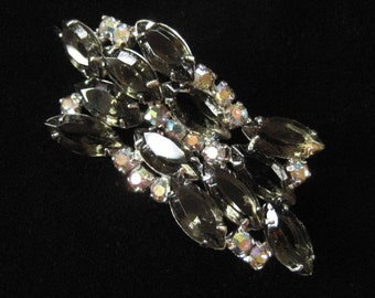 Smoky Rhinestones Wave Brooch, Unfoiled, Open Back, Unsigned