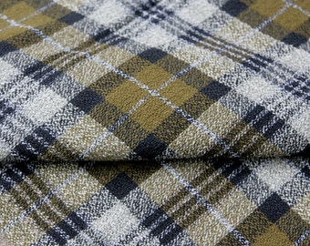 Vintage Fabric Cotton Plaid Olive Green Navy Blue Gray Sewing Supplies