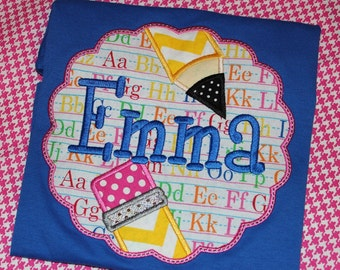 Back to School tshirt or ruffle dress monogrammed with name- pencils