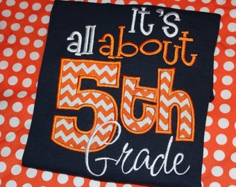 It's all about 5th grade- school teacher shirt- can change number