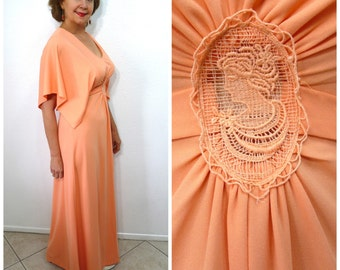60s Peach Dress Victorian Cameo Lace Embroidered Vintage dress Wings Sleeve Maxi Dress Medium