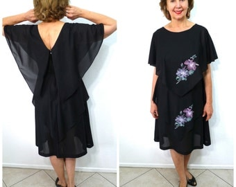Vintage 70s Black Floral Dress by Gilber Handkerchief Cape Tiered dress Size 10 Medium