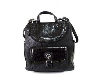 Backpack Black Leather Authentic Brighton Crocodile Embossed Travel Bag