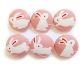 Fabric Covered Buttons - Rabbits - 6 Medium Buttons LAST SET