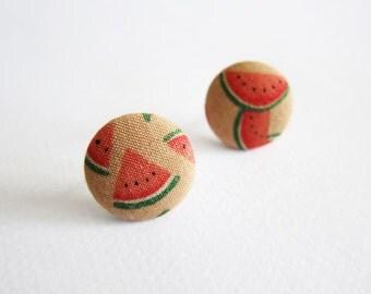 Clip On Earrings / Stud Earrings / Button Earrings - watermelon earrings