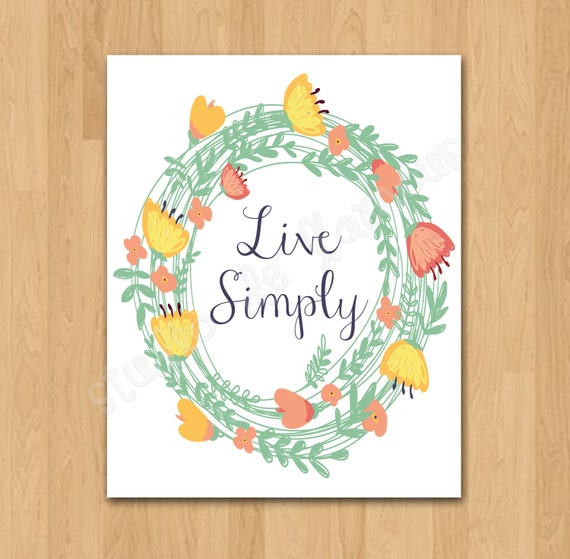 Living room wall art instant download live simply quote for Live simply wall art