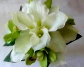 White / Ivory ( real touch ) Calla Lily & Orchids Wedding Bridal Bouquet