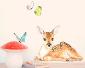 Little Fawn + Butterflies Wall Decal ( removable self-adhesive fabric wall sticker )