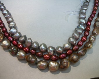FW Pearls 3-4 strands bead supply  silver & red  colors