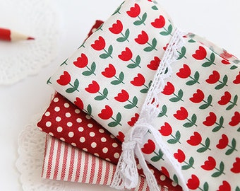 Lovely Red Tulip on Cotton, U063