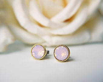 Pink Opalescent Crystal Titanium Stud Swarovski Rosewater Opal Gold Post Earrings