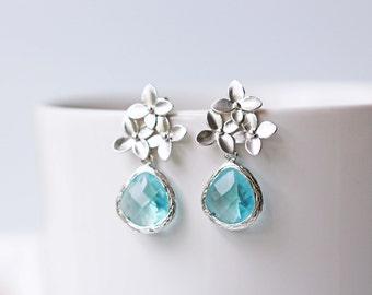 Matte Silver Light Blue Glass Flower Wedding Earrings Aquamarine Crystal Dangle Stud Earrings