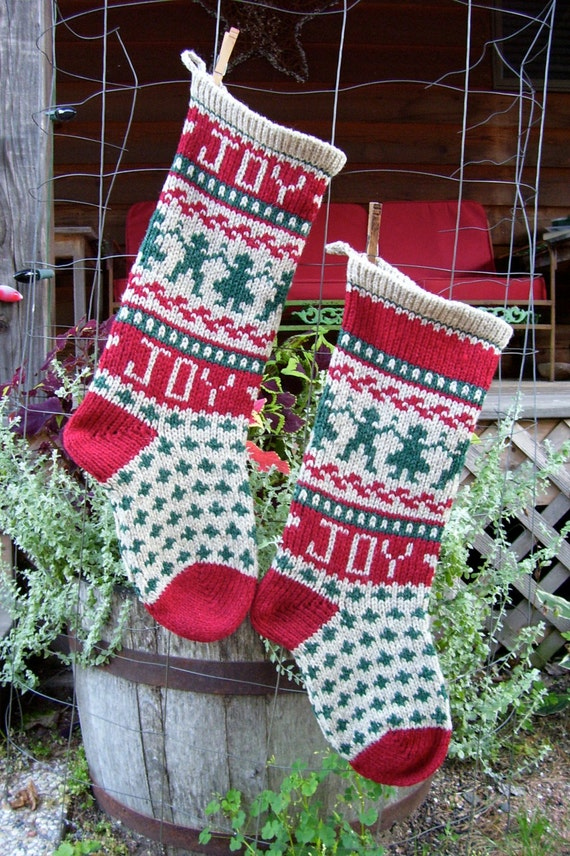 Christmas Stocking Knitting Pattern Circular Needles : JOY Christmas Digital Knitting Pattern Christmas Stocking