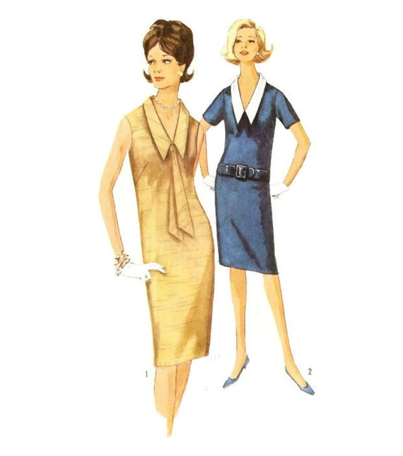 60s Shift Dress Pattern with Detachable Collar Simplicity - photo#50