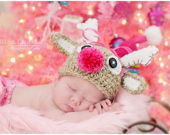 Reindeer Hat - Newborn Reindeer Hat - Newborn Deer Hat - Baby Buck Deer Hat - Newborn Photo Prop - Baby Boy Hat - Christmas In July - cij