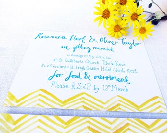 x 30 Fancy Chevron colourful quirky alternative modern style wedding invitation invite yellow, lemon, hand painted fun triangles