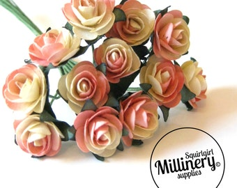 12 Pink / Ivory Wired Miniature Paper Roses Flower Picks for Millinery & Tiara Making