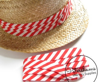 Wrap Around Puggaree Ribbon Hat Band for Hat Making / Millinery - Red & White Stripe