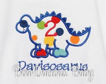 Dinosaur Birthday Shirt, Personalized, Birthday Number, Birthday Boy, Monogrammed, Birthday Number,  Birthday Gift,  Personalized
