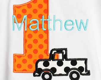 Truck Birthday Shirt, Birthday Shirt, Number, Monogrammed, Appliqued, Custom Fabric Choices and Colors, Boys Birthday Shirt