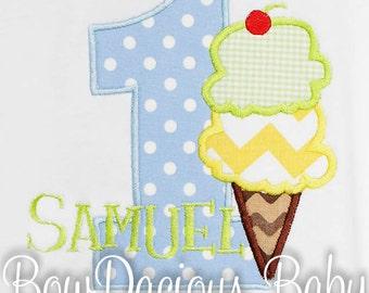 Ice Cream Birthday Shirt, Boys Ice Cream Birthday Shirt, Bodysuit, Long Sleeves, Short Sleeves, Any Colors, Any Age, First, Second, Third