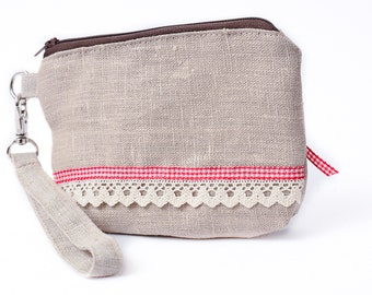 Romantic and Shabby zipper wristlet pouch in natural linen and cotton.
