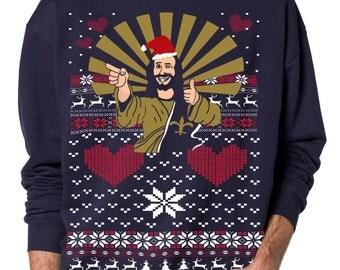 Jesus Ugly Christmas sweater -- Jesus Santa -- pullover  sweatshirt -- s m l xl xxl