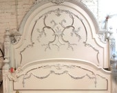 RESERVED for KATHERINE Painted Cottage Chic Shabby Oyster Romance Bed Queen/  King