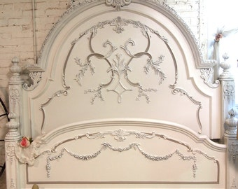 Painted Cottage Chic Shabby Oyster Romance Bed Queen/  King