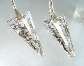 Dagger Earrings, Dagger Jewelry, Swarovski Crystal Silver Patina Spike Earrings Venice Glass Silver Earrings, Euro Leverback, LUXE Jewels