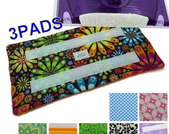 3 Reusable Swiffer Wet Jet pads, LOTS of Patterns, Eco Friendly, Washable WetJet pads, pads for WetJet mop pads, EcoSwift Pads, GUARANTEED