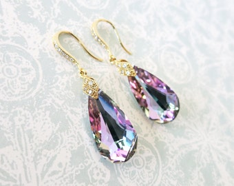 Eathelyn - Vitrail Light Faceted Teardrop Crystal Earrings, Purple Wedding, Bridal Earrings, Bridesmaid Jewelry, Weddings