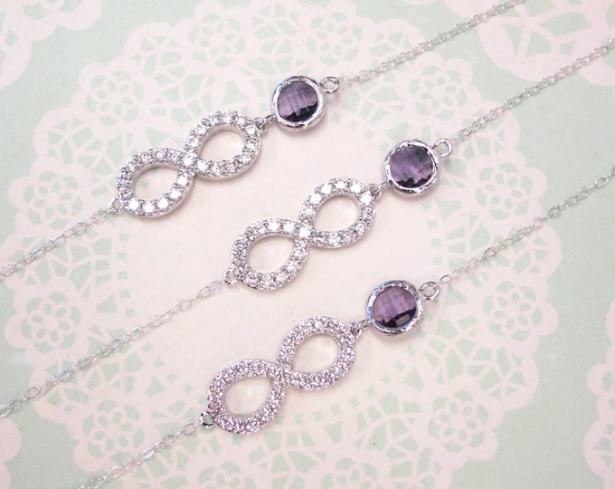 Infinity - Crystal Infinity Bracelet with Amethyst Glass Bracelet, Love, Forever, bridesmaid bracelet, purple weddings bridal jewelry