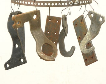 7 salvaged heavy metal plates found objects for your assemblage Steampunk project
