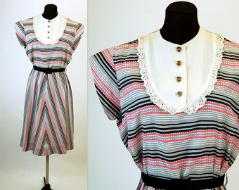 1930s dress 30s day dress pink gray black striped dress bib dress Size L
