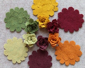 Autumn Harvest - 3D Tattered Rolled Roses - 12 Die Cut Wool Blend Felt Flowers - Unassembled Rosettes