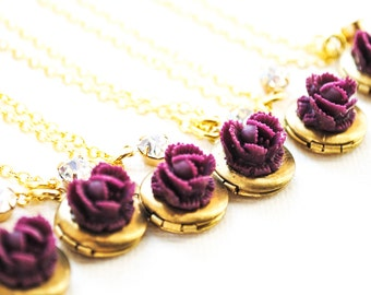 SALE - Petite Plum Ruffle Rose Locket with Vintage Rhinestone - Cabbage Rose Necklace - Bridesmaid Necklaces - Brass, Gold Plated
