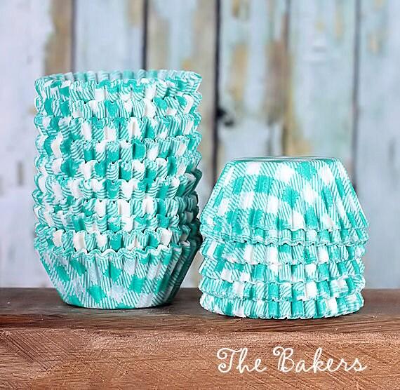MINI Jade Green Check Cupcake Liners, Mini Green Gingham Liners, Cake Pop Cups, Candy Cup, Mini Green Liners, Picnic Print Liner (100)