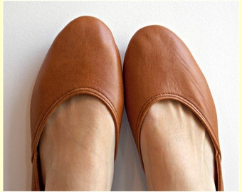 MAYA - Ballet Flats - Leather Shoes-38-Tobacco brown. Available in different colours & sizes