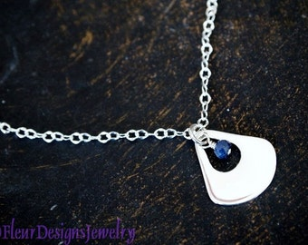 Silver and Sapphire Charm Necklace, Small Triangular Silver Charm Necklace