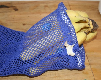 Large Produce Bag, reusable produce bag, market bag - Blue netted drawstring bag