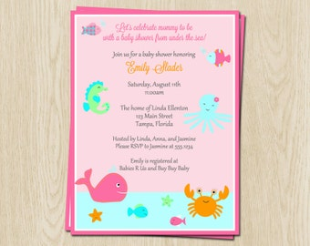 Under The Sea Girls Baby Shower Invitations Aqua Pink
